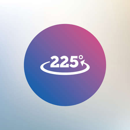 math icon: Angle 225 degrees sign icon. Geometry math symbol. Icon on blurred background. Vector Illustration