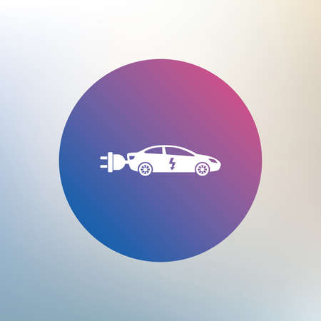saloon: Electric car sign icon. Sedan saloon symbol. Electric vehicle transport. Icon on blurred background. Vector Illustration