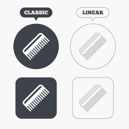 comb hair: Pettinare i capelli sign icon. Simbolo Barber. Classic e la linea web pulsanti. Cerchi e quadrati. Vettore