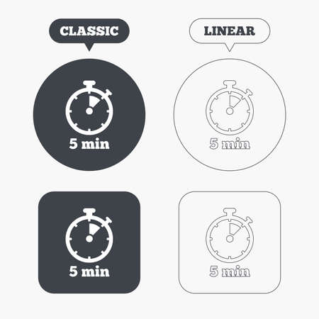 min: Timer sign icon. 5 minutes stopwatch symbol. Classic and line web buttons. Circles and squares. Vector