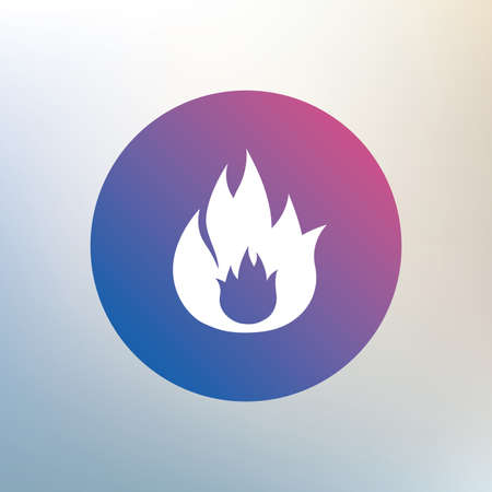 fire escape: Fire flame sign icon. Fire symbol. Stop fire. Escape from fire. Icon on blurred background. Vector Illustration