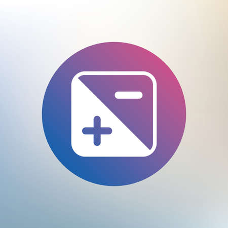 Exposure photo camera sign icon. Quantity of light settings. Icon on blurred background. Vector