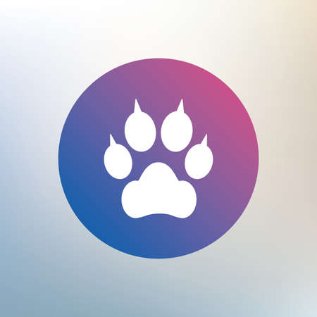 clutches: Dog paw with clutches sign icon. Pets symbol. Icon on blurred background. Vector Illustration