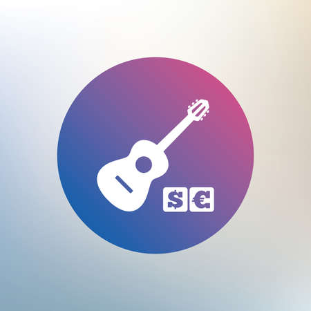 Acoustic guitar sign icon. Paid music symbol. Icon on blurred background. Vector