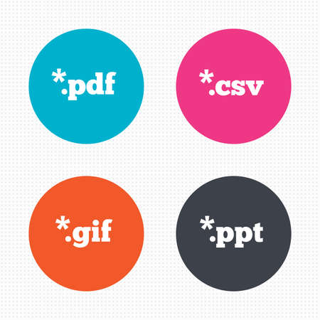 csv: Circle buttons. Document icons. File extensions symbols. PDF, GIF, CSV and PPT presentation signs. Seamless squares texture. Vector