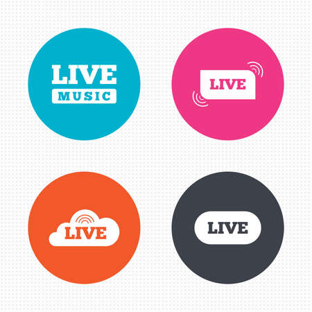 live stream radio: Circle buttons. Live music icons. Karaoke or On air stream symbols. Cloud sign. Seamless squares texture. Vector Illustration