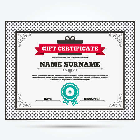 signs and symbols: Gift certificate. CD or DVD sign icon. Compact disc symbol. Template with vintage patterns. Vector Illustration