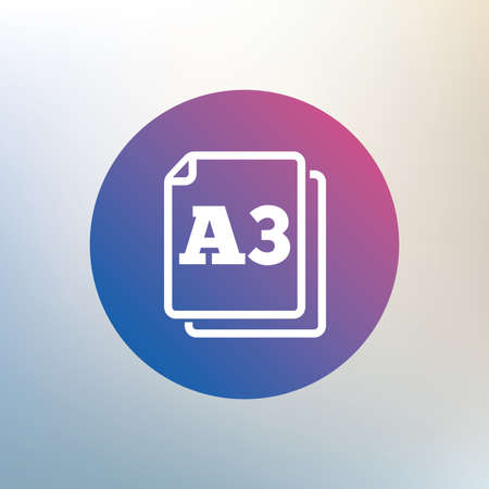 a3: Paper size A3 standard icon. File document symbol. Icon on blurred background. Vector