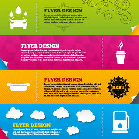 hotdog sandwiches: Flyer brochure designs. Petrol or Gas station services icons. Automated car wash signs. Hotdog sandwich and hot coffee cup symbols. Frame design templates. Vector