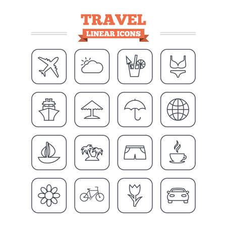 swimming trunks: Travel linear icons set. Ship, plane and car transport. Beach umbrella, palms and cocktail. Swimming trunks. Rose or tulip flower. Thin outline signs. Flat square vector