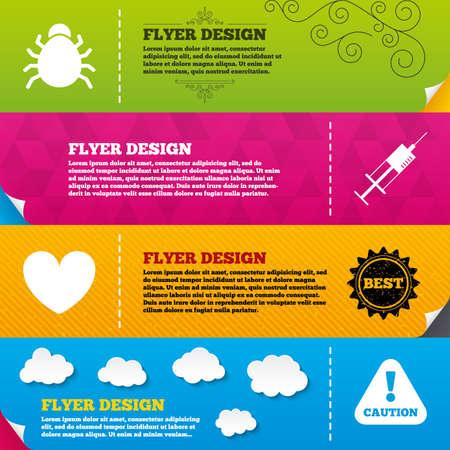 syringe injection: Flyer brochure designs. Bug and vaccine syringe injection icons. Heart and caution with exclamation sign symbols. Frame design templates. Vector