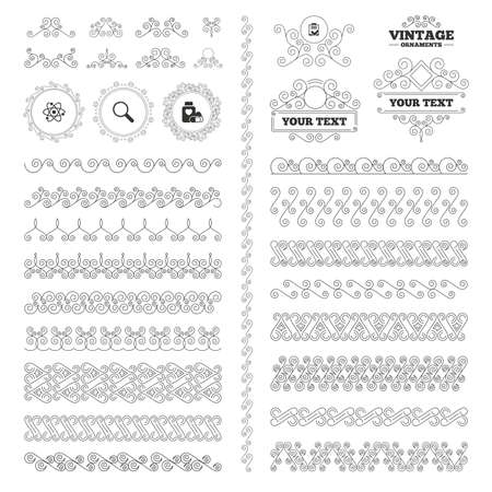 symbol of pharmacy: Vintage ornaments. Flourishes calligraphic. Medical icons. Atom, magnifier glass, checklist signs. Medical heart pills bottle symbol. Pharmacy medicine drugs. Invitations elements. Vector Illustration