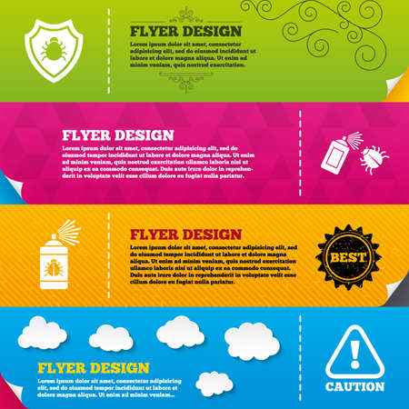 insanitary: Flyer brochure designs. Bug disinfection icons. Caution attention and shield symbols. Insect fumigation spray sign. Frame design templates. Vector