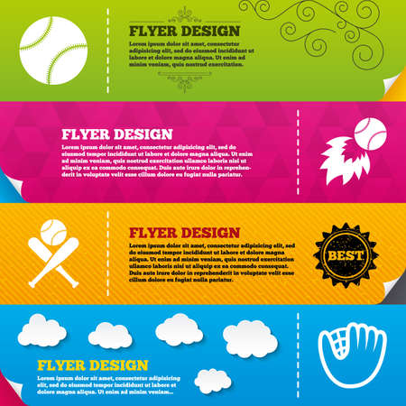 crosswise: Flyer brochure designs. Baseball sport icons. Ball with glove and two crosswise bats signs. Fireball symbol. Frame design templates. Vector Illustration