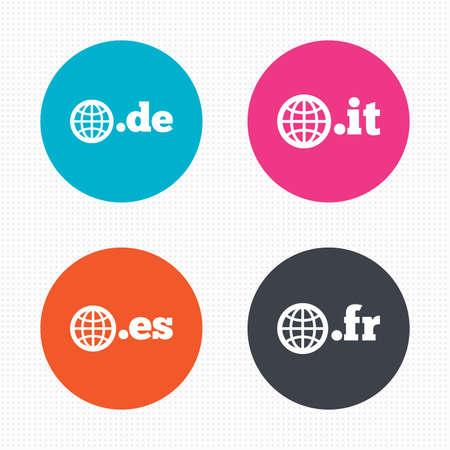 vector es: Circle buttons. Top-level internet domain icons. De, It, Es and Fr symbols with globe. Unique national DNS names. Seamless squares texture. Vector