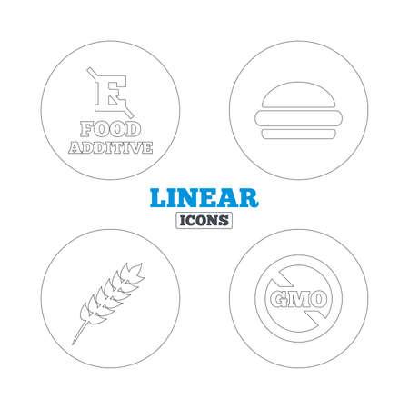 stabilizers: Icono de aditivo alimentario. Hamburguesa signo de comida r�pida. Gluten s�mbolos libres y Sin OGM. Sin estabilizadores de �cido E. Iconos de la web de contorno lineales. Vector