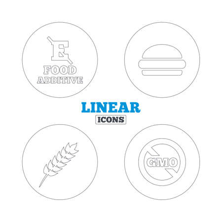 Food additive icon. Hamburger fast food sign. Gluten free and No GMO symbols. Without E acid stabilizers. Linear outline web icons. Vector