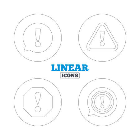 Attention icons. Exclamation speech bubble symbols. Caution signs. Linear outline web icons. Vector