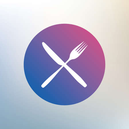 crosswise: Eat sign icon. Cutlery symbol. Fork and knife crosswise. Icon on blurred background. Vector