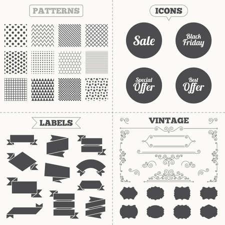 Seamless patterns. Sale Tags étiquettes. Vente icônes. Meilleures symboles offre spéciale. Noir signe vendredi. Décoration vintage. Vecteur Banque d'images - 42234980