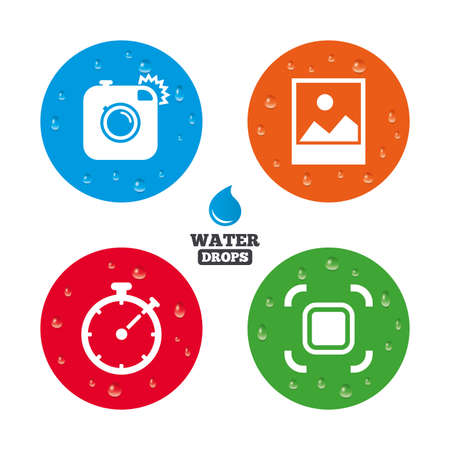 Water drops on button. Hipster retro photo camera icon. Autofocus zone symbol. Stopwatch timer sign. Landscape photo frame. Realistic pure raindrops on circles. Vector