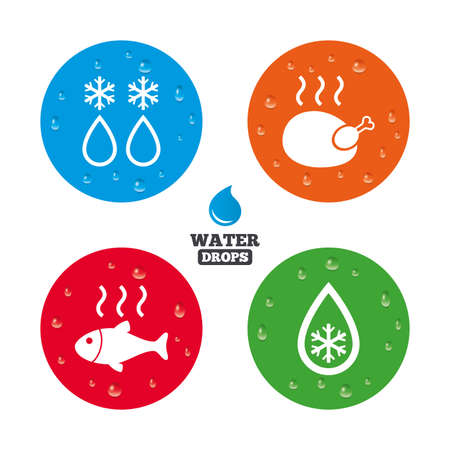 warm water fish: Water drops on button. Defrosting drop and snowflake icons. Hot fish and chicken signs. From ice to water symbol. Realistic pure raindrops on circles. Vector