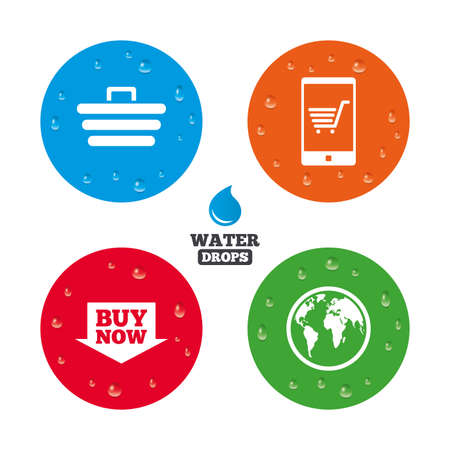 condensation basket: Water drops on button. Online shopping icons. Smartphone, shopping cart, buy now arrow and internet signs. WWW globe symbol. Realistic pure raindrops on circles. Vector Illustration