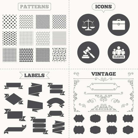 auction gavel: Seamless patterns. Sale tags labels. Scales of Justice icon. Group of clients symbol. Auction hammer sign. Law judge gavel. Court of law. Vintage decoration. Vector Illustration