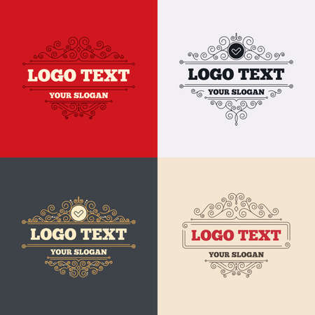 check sign: Royal flourishes calligraphic. Check sign icon. Yes button. Luxury ornament lines. Vector