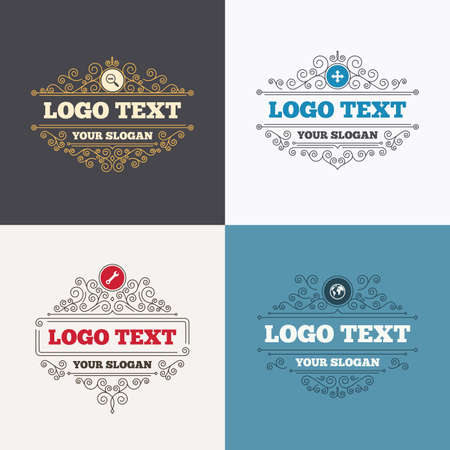 fullscreen: Flourishes calligraphic emblems. Magnifier glass and globe search icons. Fullscreen arrows and wrench key repair sign symbols. Luxury ornament lines. Vector