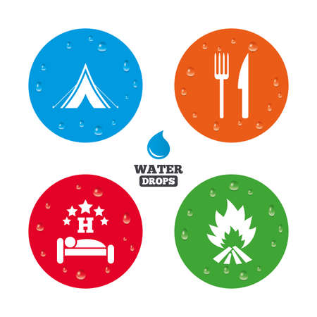 breakfast in bed: Water drops on button. Food, sleep, camping tent and fire icons. Knife and fork. Hotel or bed and breakfast. Road signs. Realistic pure raindrops on circles. Vector