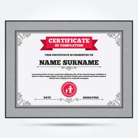 one child: Certificate of completion. One-parent family with one child sign icon. Father with son symbol. Template with vintage patterns. Vector