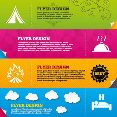 breakfast in bed: Flyer brochure designs. Hot food, sleep, camping tent and fire icons. Hotel or bed and breakfast. Road signs. Frame design templates. Vector