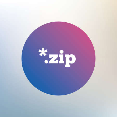 compressed: Archive file icon. Download compressed file button. ZIP zipped file extension symbol. Icon on blurred background. Vector
