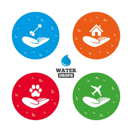 shelter: Water drops on button. Helping hands icons. Shelter for dogs symbol. Home house or real estate and key signs. Flight trip insurance. Realistic pure raindrops on circles. Vector