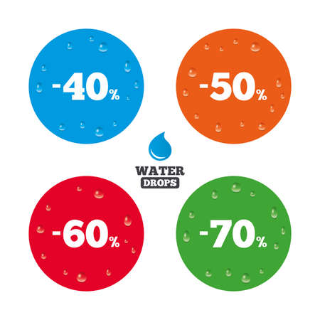 40 50: Water drops on button. Sale discount icons. Special offer price signs. 40, 50, 60 and 70 percent off reduction symbols. Realistic pure raindrops on circles. Vector Illustration