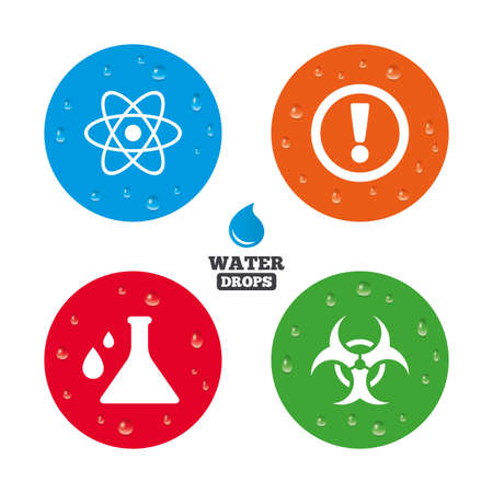 caution chemistry: Water drops on button. Attention and biohazard icons. Chemistry flask sign. Atom symbol. Realistic pure raindrops on circles. Vector