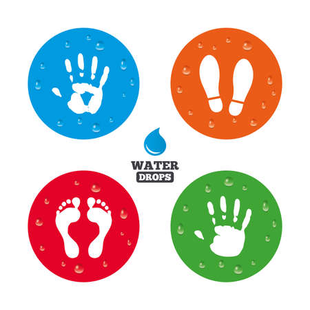 Water drops on button. Hand and foot print icons. Imprint shoes and barefoot symbols. Stop do not enter sign. Realistic pure raindrops on circles. Vector