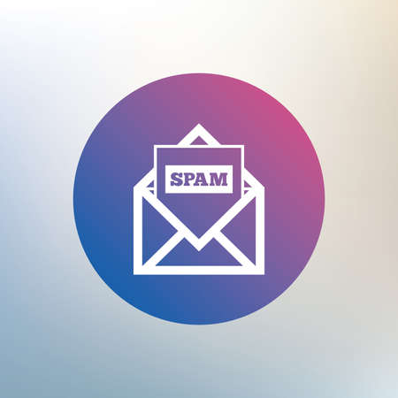 spam mail: Mail icon. Envelope symbol. Message spam sign. Mail navigation button. Icon on blurred background. Vector