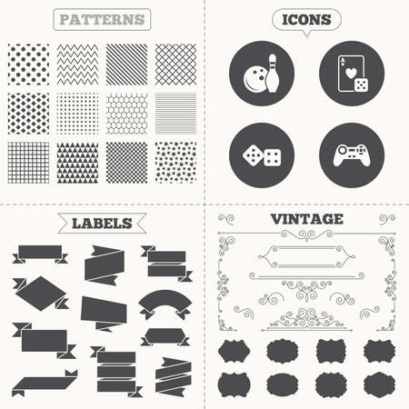 playing video game: Seamless patterns. Sale tags labels. Bowling and Casino icons. Video game joystick and playing card with dice symbols. Entertainment signs. Vintage decoration. Vector Illustration