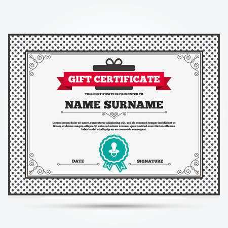 dummy: Gift certificate. Babys dummy sign icon. Child pacifier symbol. Template with vintage patterns. Vector Illustration