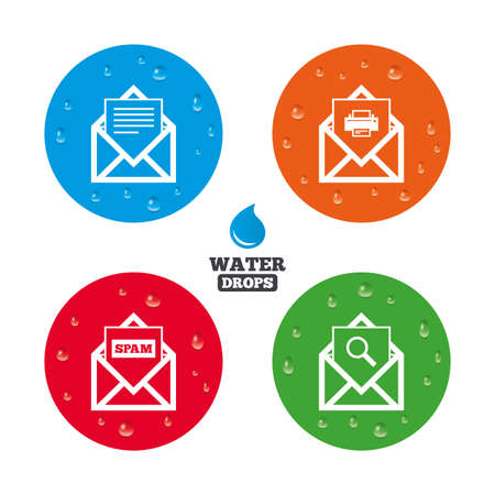 webmail: Water drops on button. Mail envelope icons. Print message document symbol. Post office letter signs. Spam mails and search message icons. Realistic pure raindrops on circles. Vector
