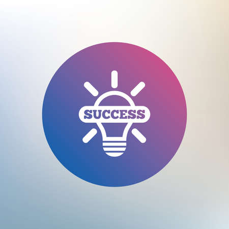 idea symbol: Light lamp sign icon. Bulb with success symbol. Idea symbol. Icon on blurred background. Vector