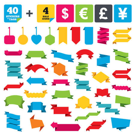 discount buttons: Web stickers, banners and labels. Dollar, Euro, Pound and Yen currency icons. USD, EUR, GBP and JPY money sign symbols. Price tags set. Vector