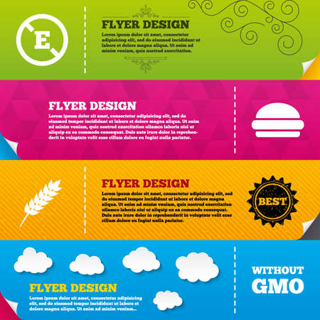 stabilizers: Flyer brochure designs. Food additive icon. Hamburger fast food sign. Gluten free and No GMO symbols. Without E acid stabilizers. Frame design templates. Vector Illustration