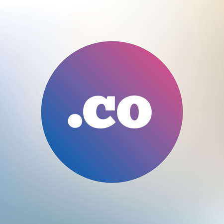 co: Domain CO sign icon. Top-level internet domain symbol. Icon on blurred background. Vector Illustration