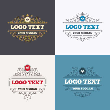 red eye: Flourishes calligraphic emblems. Eye icons. Water drops in the eye symbols. Red eye effect signs. Luxury ornament lines. Vector