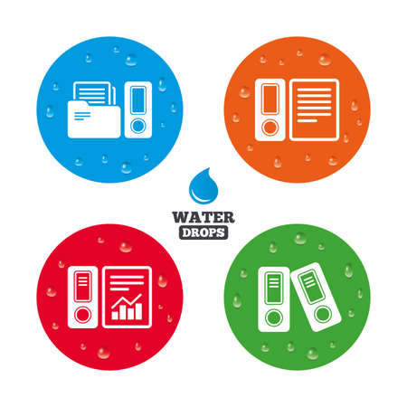 Water Drops On Button Accounting Report Icons Document Storage