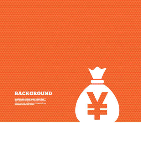 orange texture: Background with seamless pattern. Money bag sign icon. Yen JPY currency symbol. Triangles orange texture. Vector