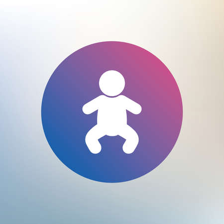 infant: Baby infant sign icon. Toddler boy in pajamas or crawlers body symbol. Child WC toilet. Icon on blurred background. Vector